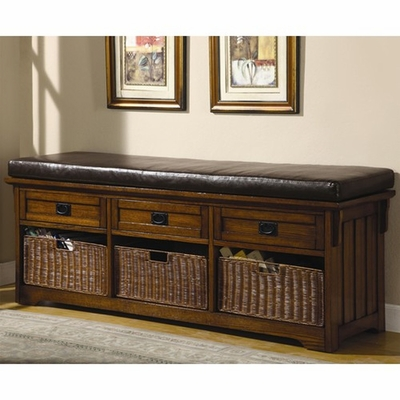 Brown Leather Storage Bench