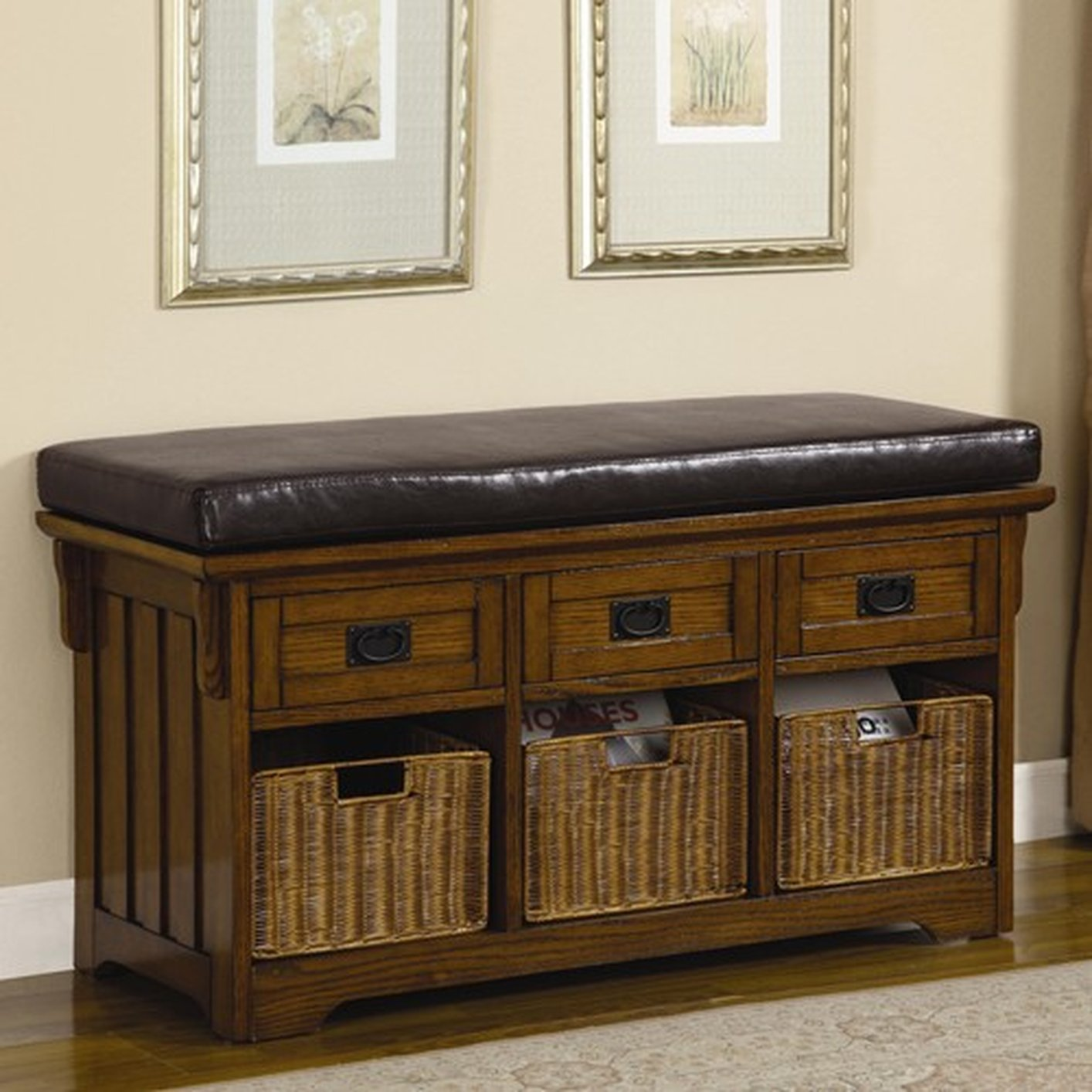 Brown Leather Storage Bench & Brown Leather Storage Bench - Steal-A-Sofa Furniture Outlet Los ...