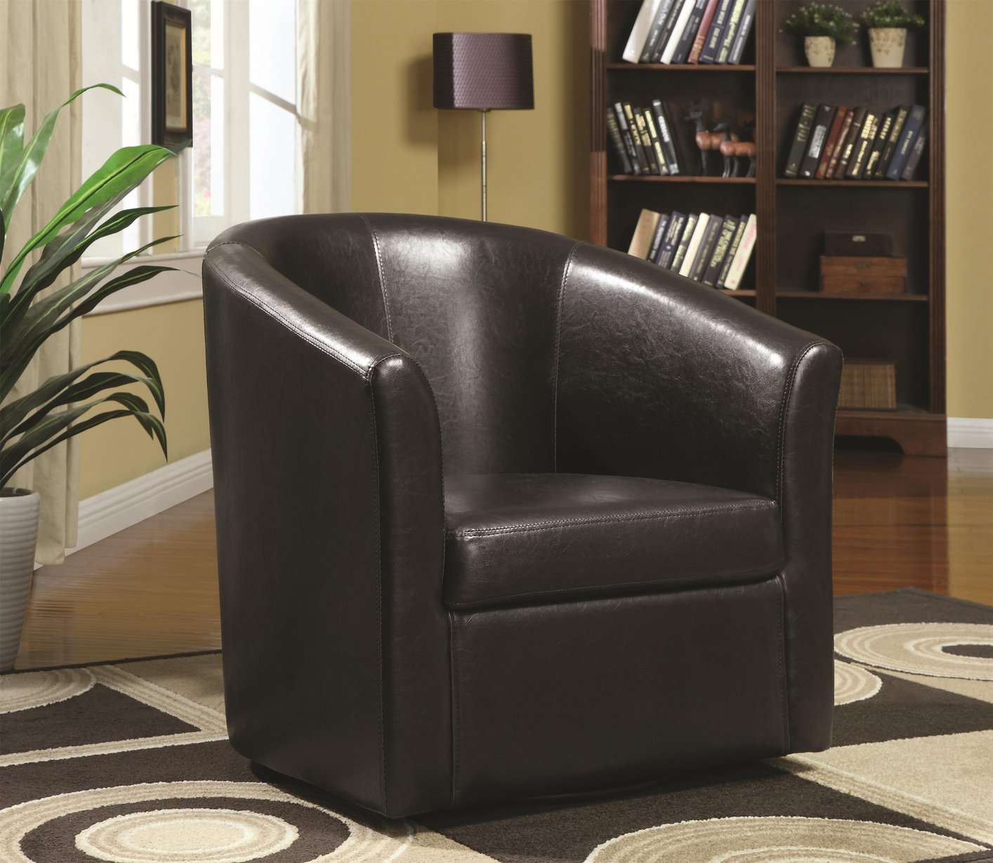 Leather Swivel Chairs For Living Room Coaster 902098 Brown Leather Swivel Chair Steal A Sofa Furniture