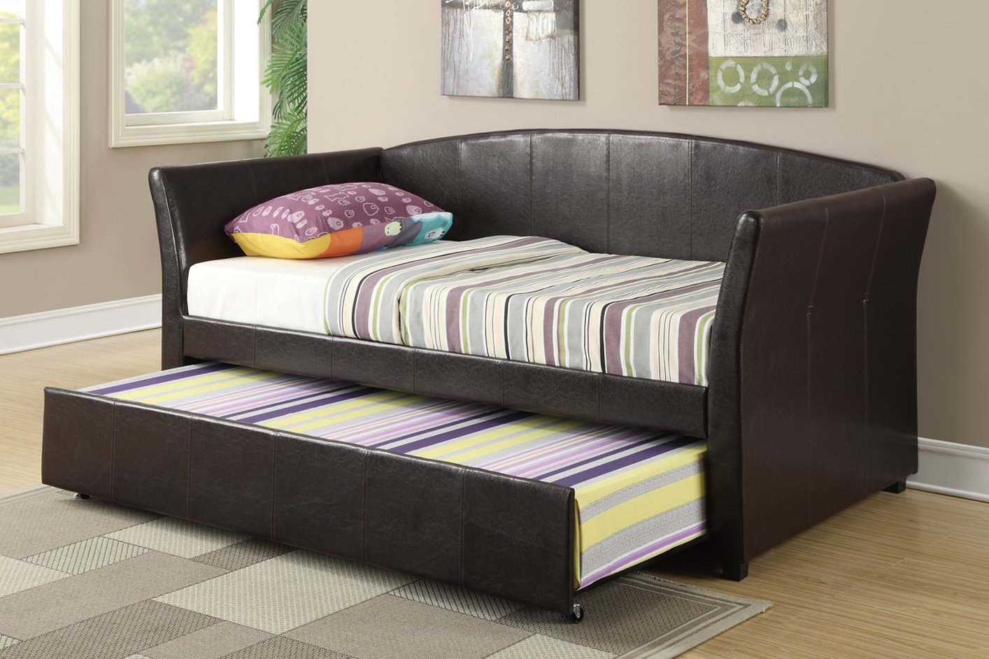 Brown Wood Twin Size Bed Steal A Sofa Furniture Outlet