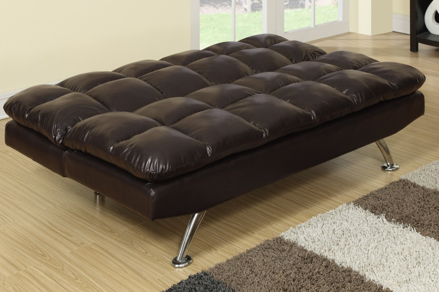 Poundex F7011 Brown Twin Size Leather Sofa Bed Steal A Sofa Furniture Outlet Los Angeles Ca