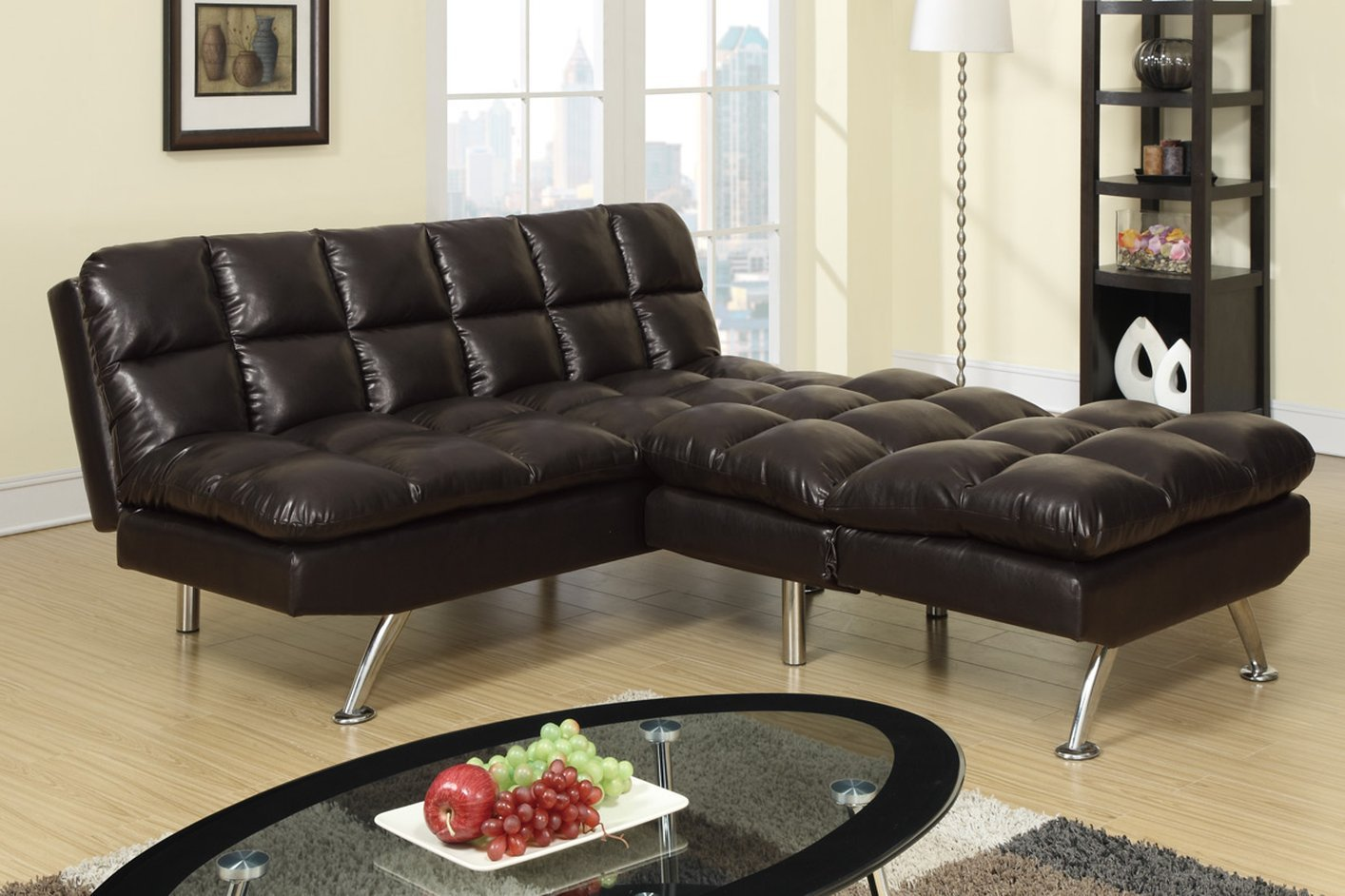 brown leather twin size sofa bed steal a sofa furniture outlet los angeles ca. Black Bedroom Furniture Sets. Home Design Ideas