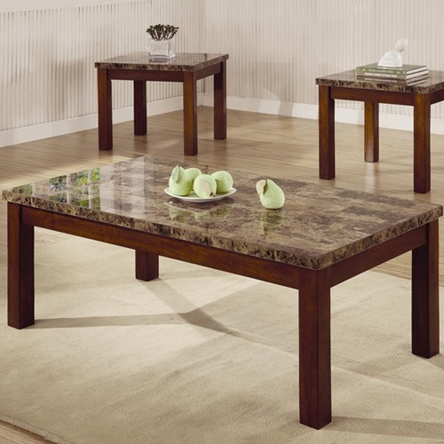 Marble Coffee Table Online: Brown Marble Coffee Table Set