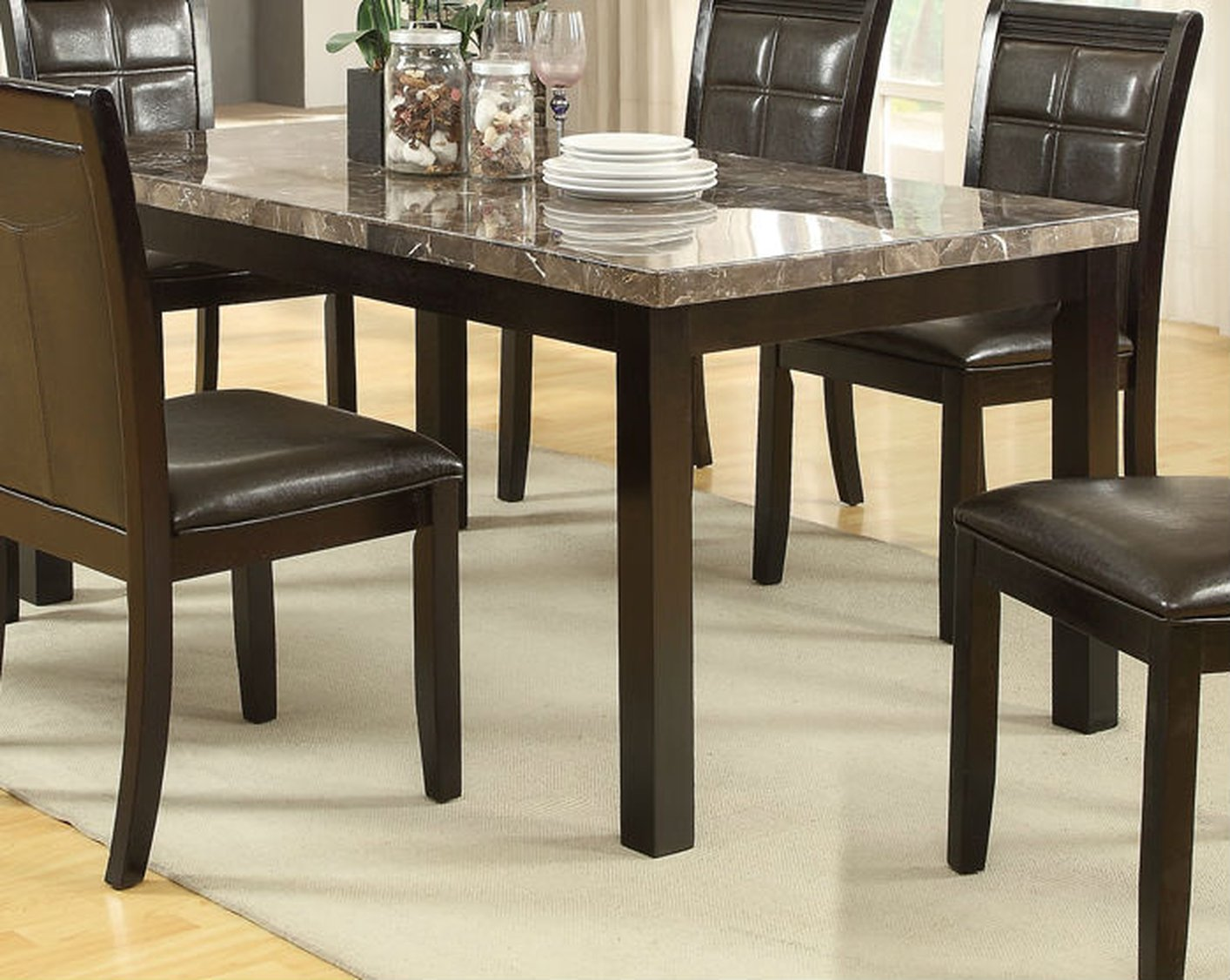 Brown Wood Dining Table StealASofa Furniture Outlet Los Angeles CA - Kitchen table los angeles