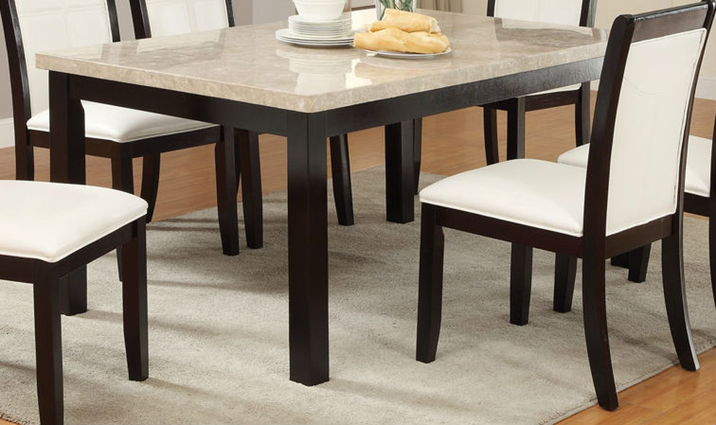 Poundex f2296 brown marble dining table steal a sofa for Restaurant tables
