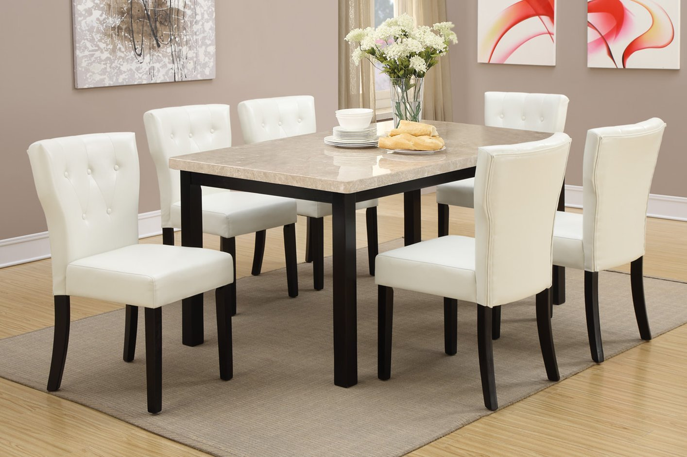 Brown Marble Dining Table - Steal-A-Sofa Furniture Outlet Los ...