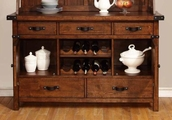 Brown Wood Buffet and Hutch