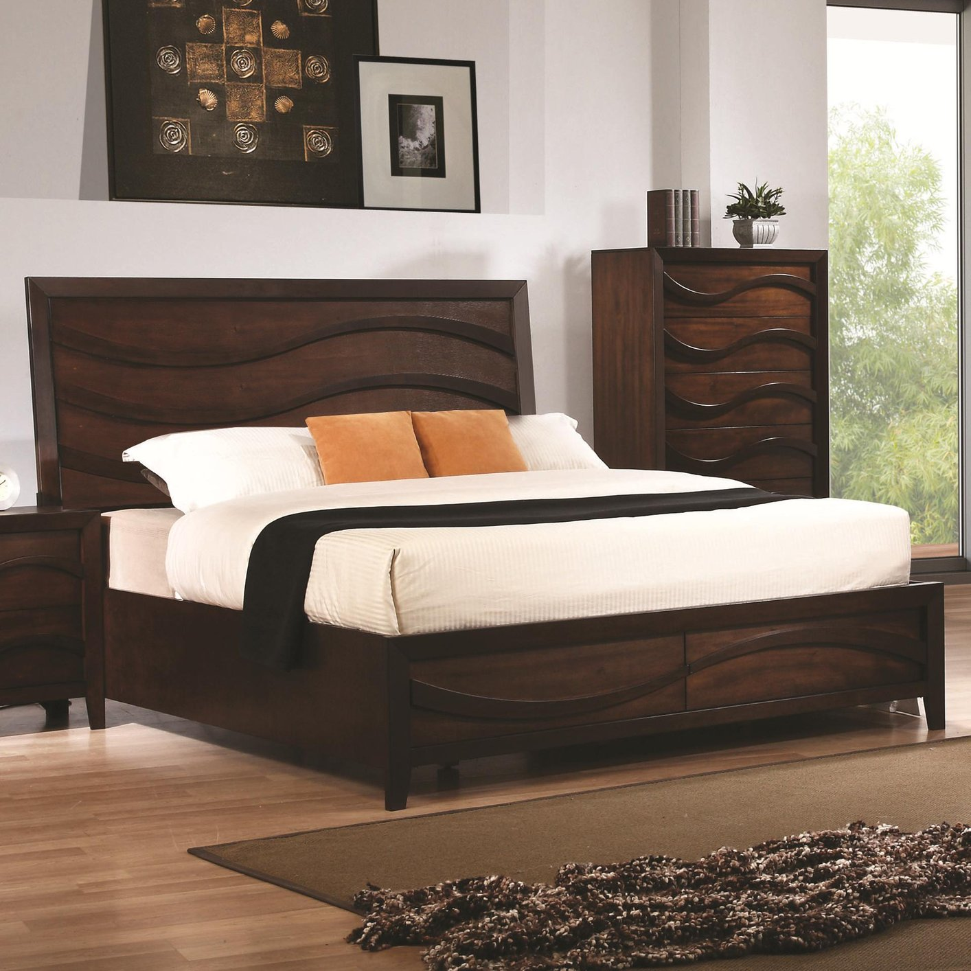 Brown wood california king size bed steal a sofa for Bedroom furniture 90036