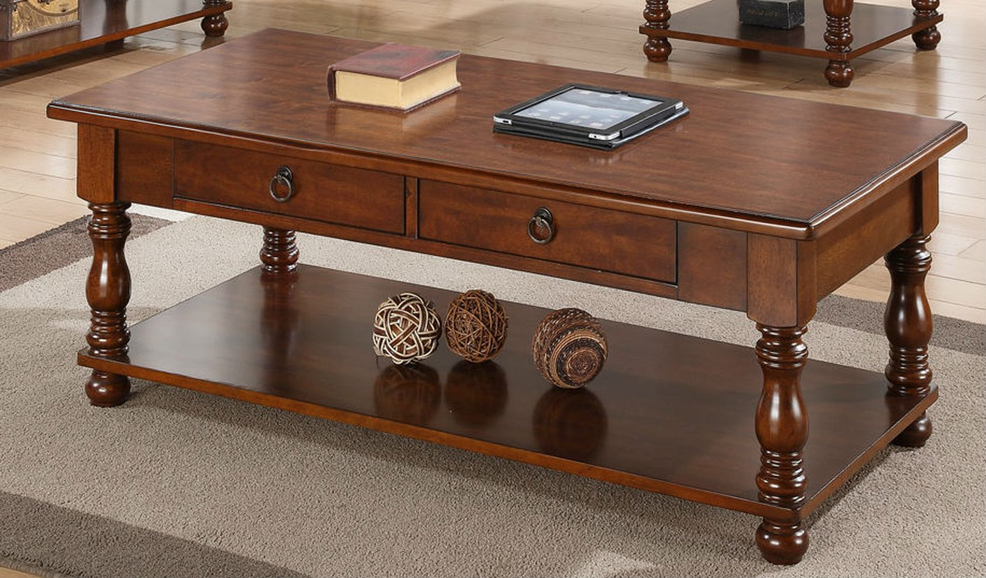 Poundex F6327 Brown Wood Coffee Table Steal A Sofa