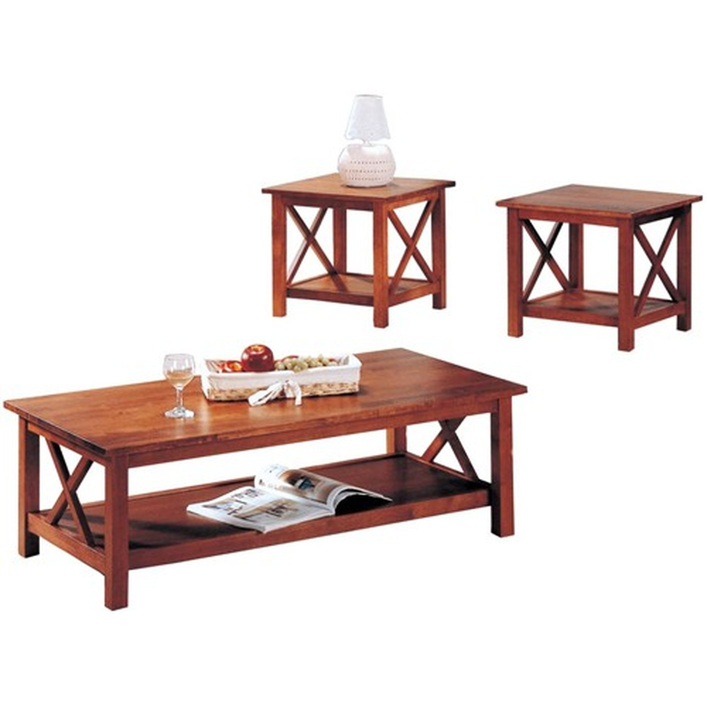 Coaster 5907 Brown Wood Coffee Table Set Steal A Sofa