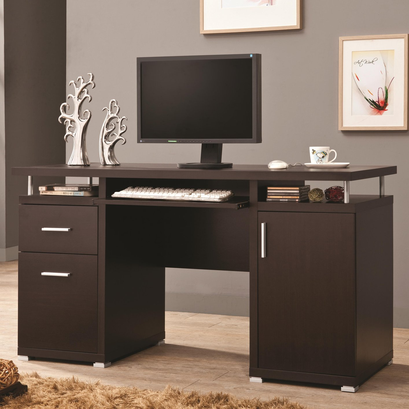 brown wood computer desk steal a sofa furniture outlet. Black Bedroom Furniture Sets. Home Design Ideas