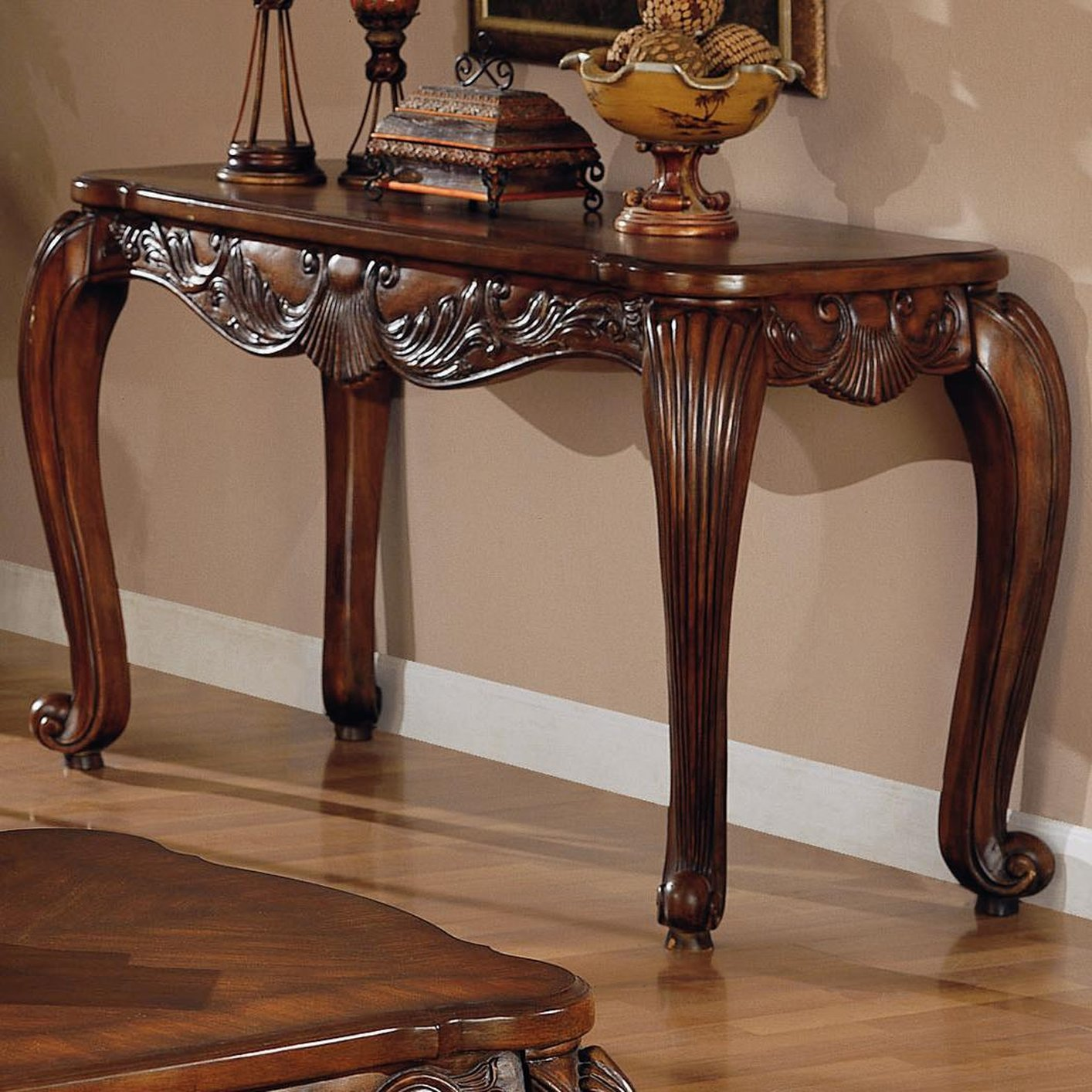 Victoria brown wood console table steal a sofa furniture for Table console