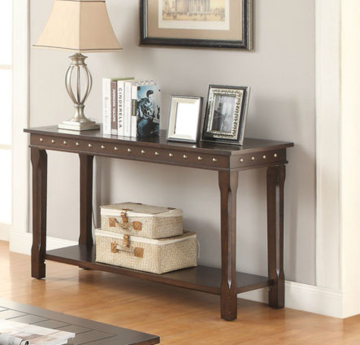 Brown wood console table steal a sofa furniture outlet los brown wood console table geotapseo Gallery