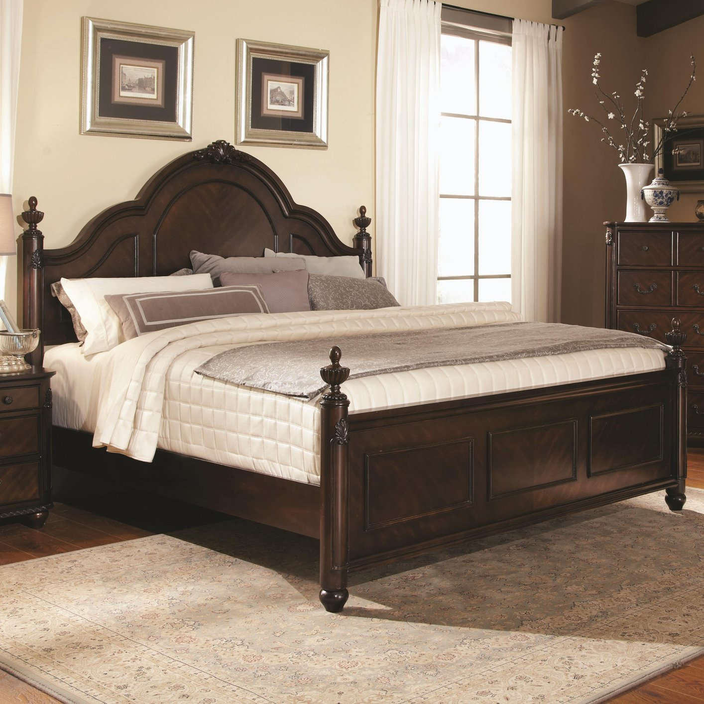 Coaster 203221ke brown eastern king size wood bed steal for Bedroom furniture 90036