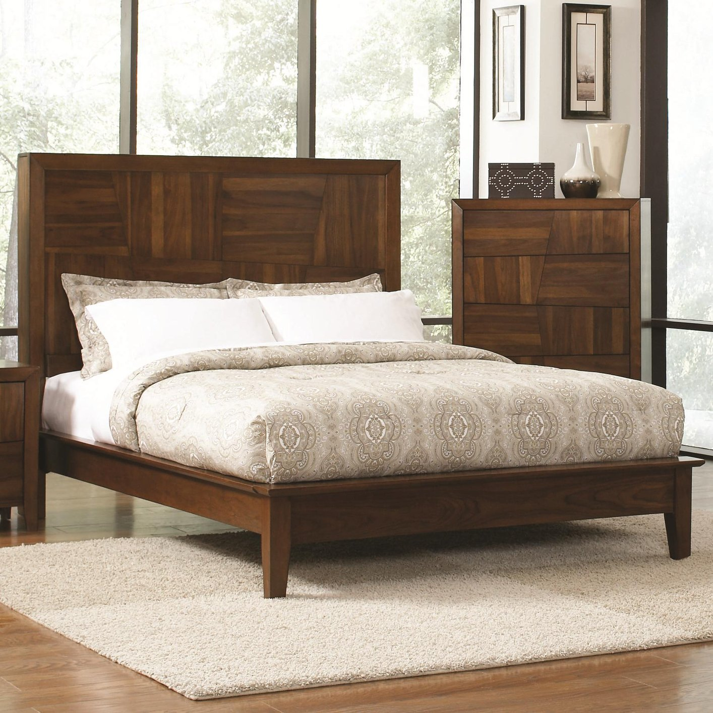 Brown wood eastern king size bed steal a sofa furniture for Bedroom furniture 90036