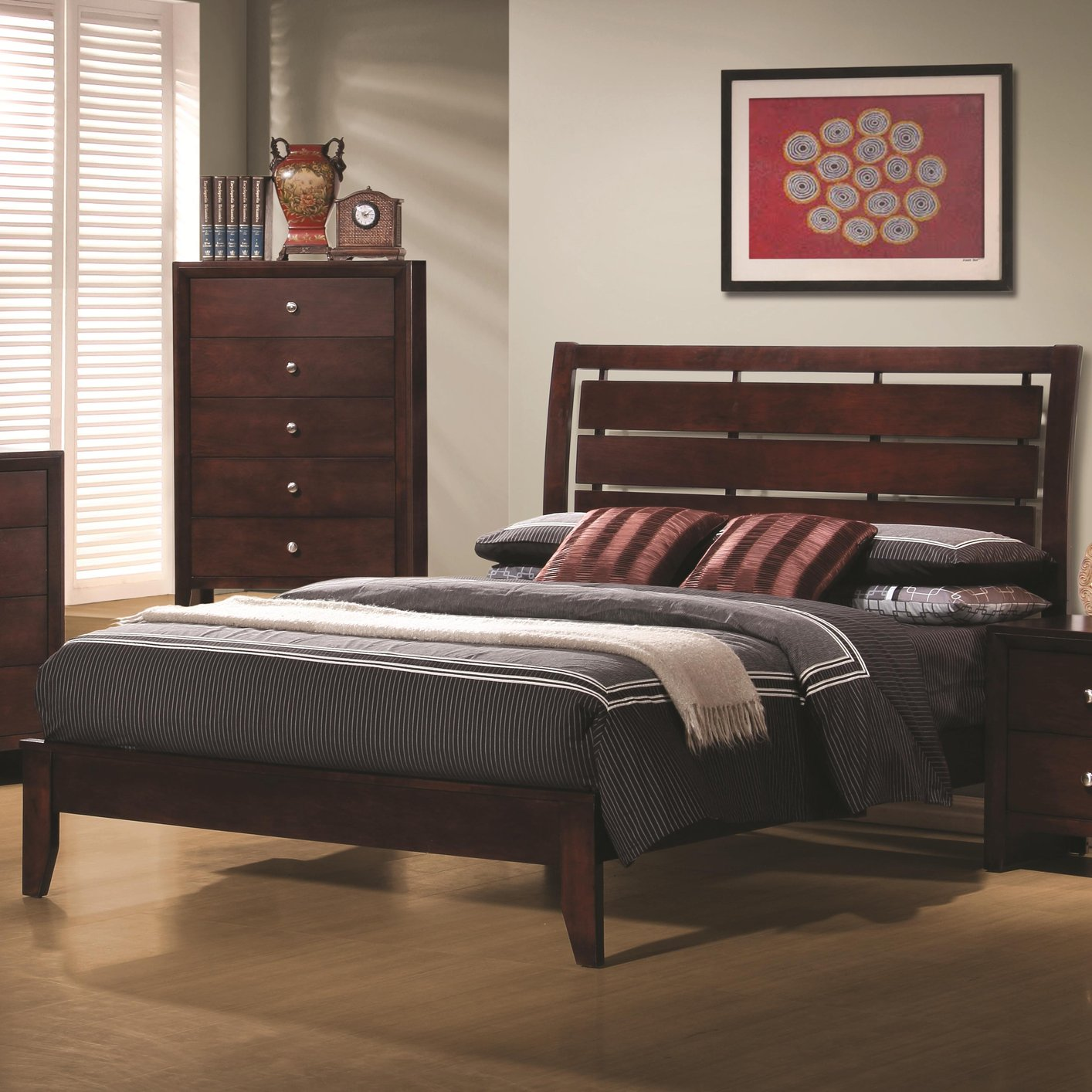 Brown Wood Full Size Bed Steal A Sofa Furniture Outlet