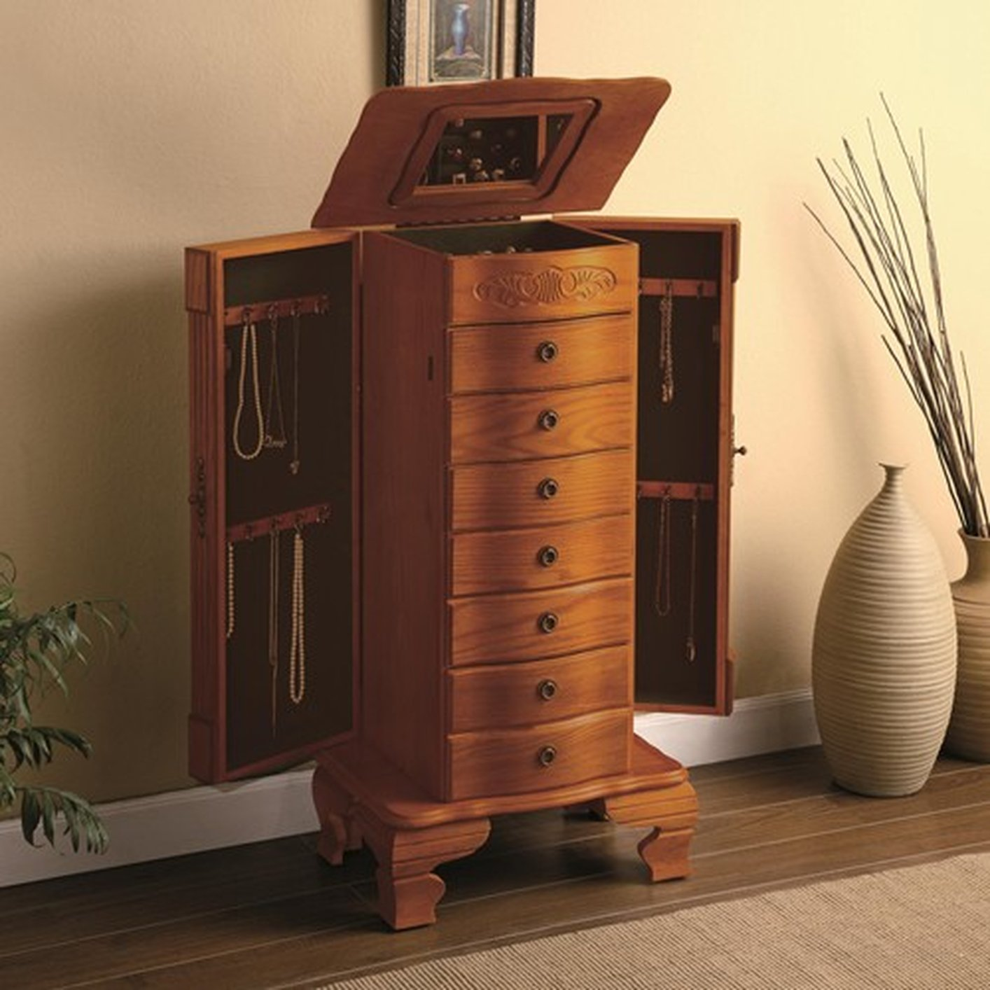 Brown wood jewelry armoire steal a sofa furniture outlet