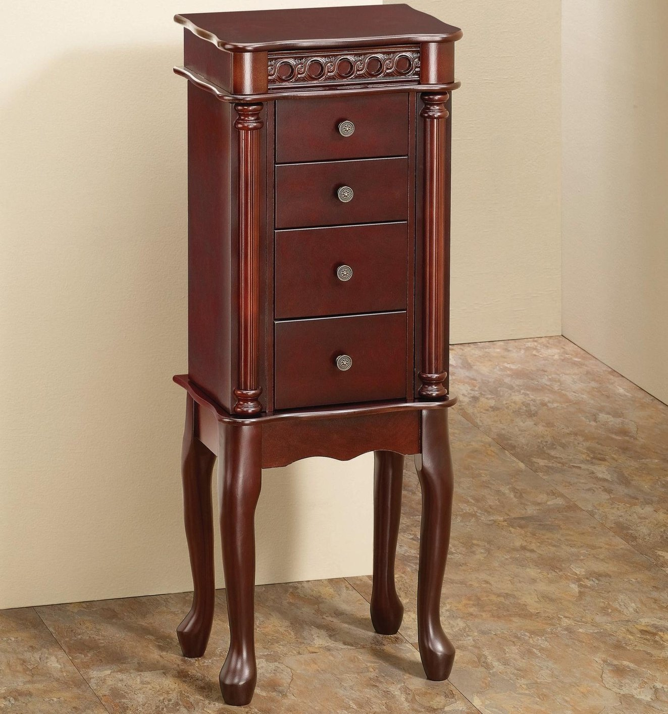 Coaster brown wood jewelry armoire steal a sofa
