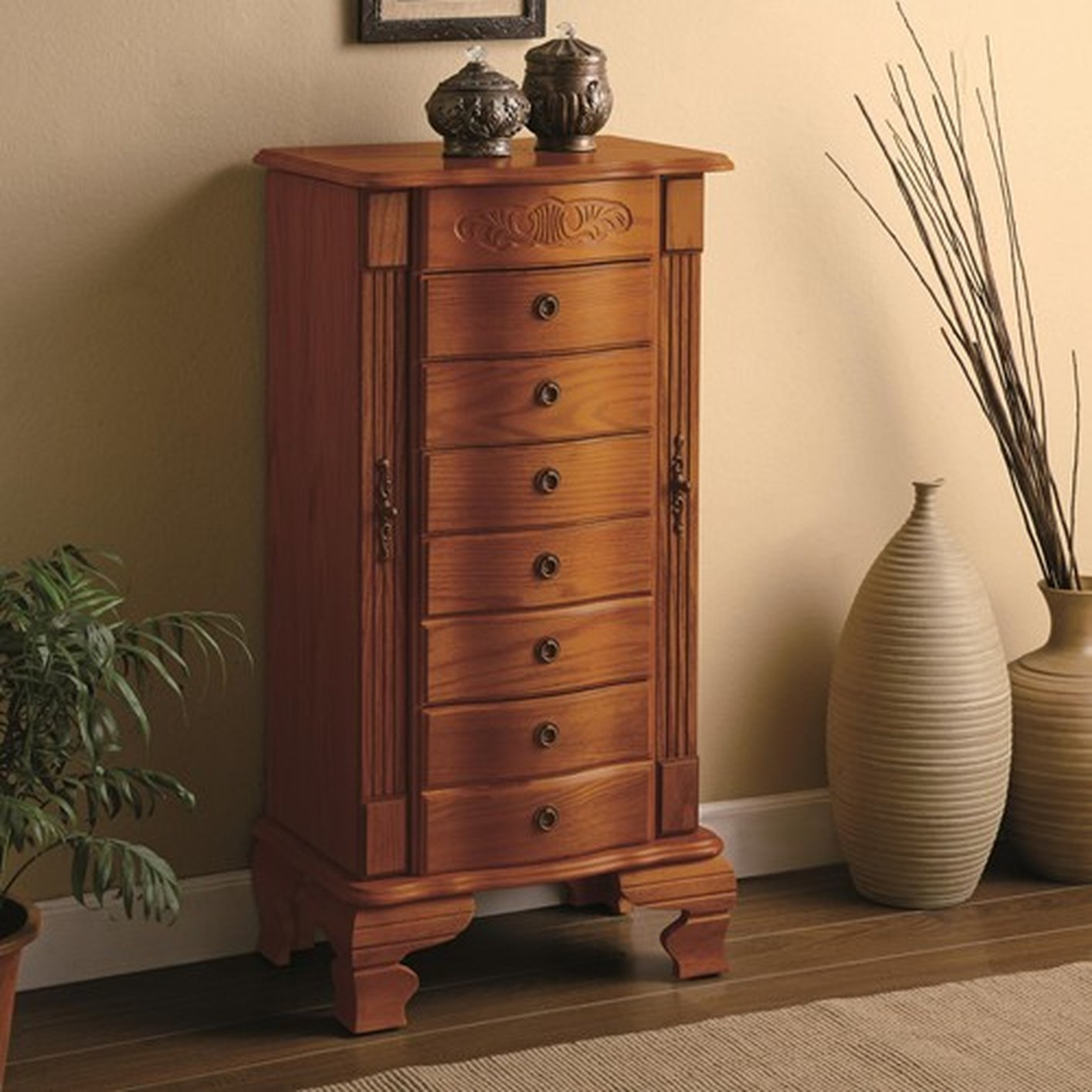 Brown Wood Jewelry Armoire StealASofa Furniture Outlet Los