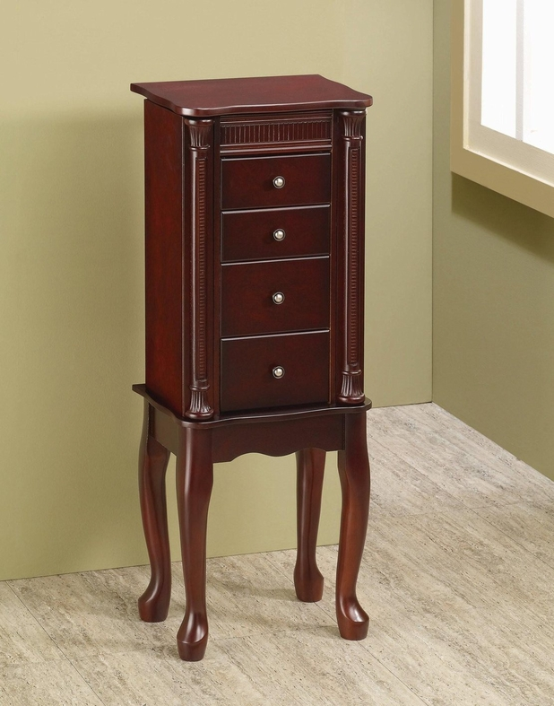 Red wood jewelry armoire steal a sofa furniture outlet