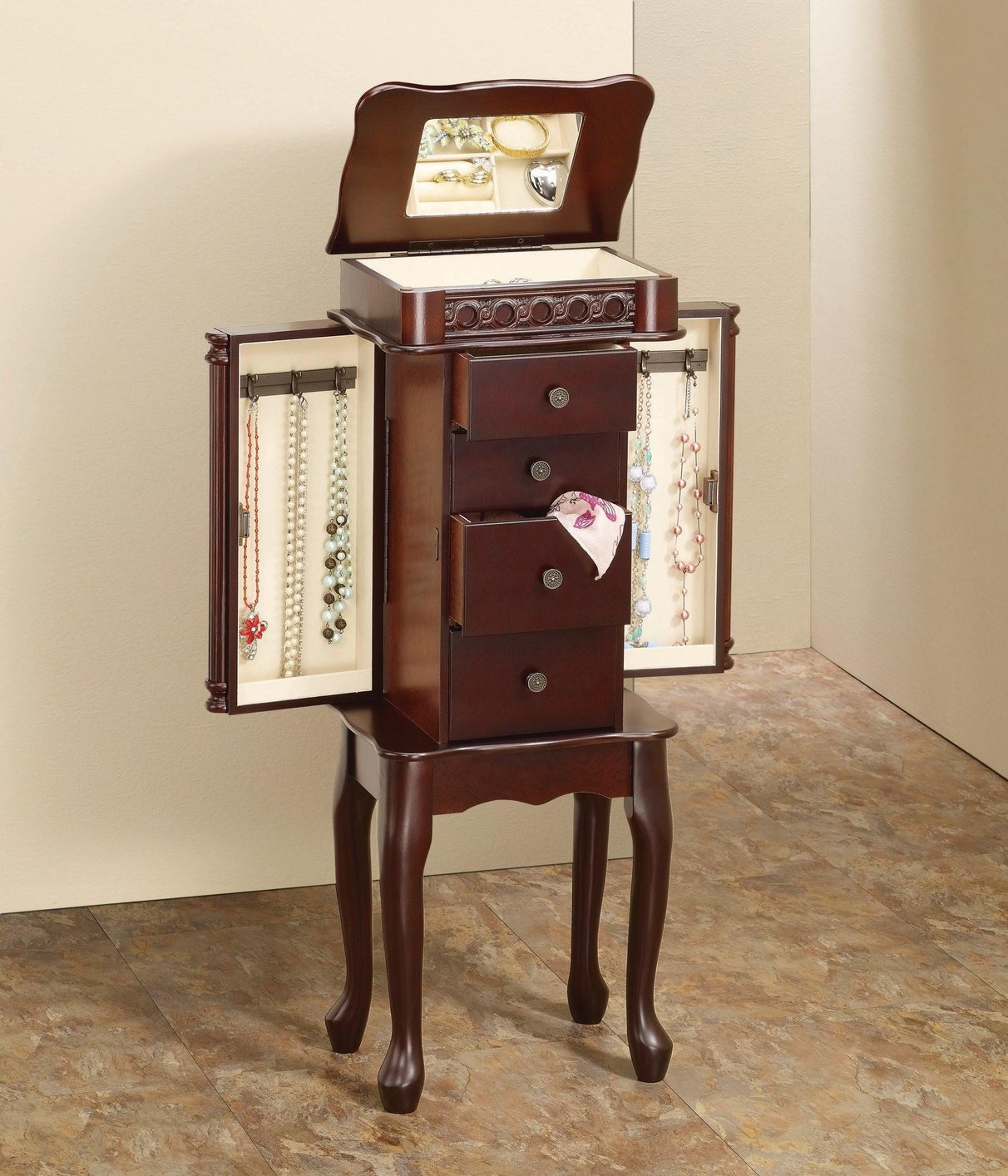 Red Wood Jewelry Armoire - Steal-A-Sofa Furniture Outlet ...