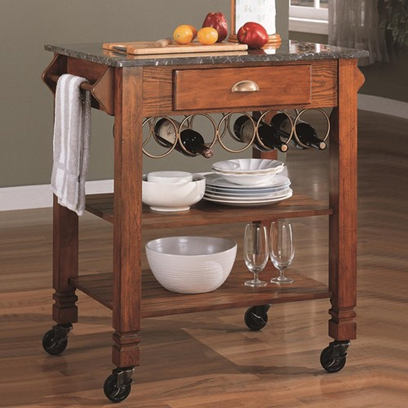 Brown Wood Kitchen Cart