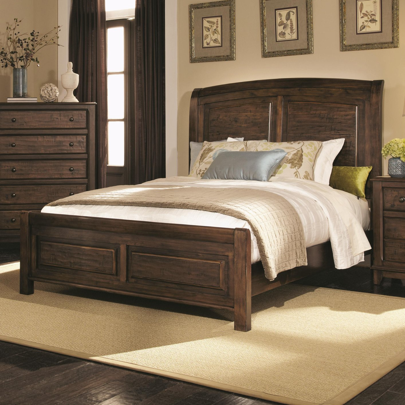 coaster 203260q brown queen size wood bed steal a sofa furniture outlet los angeles ca. Black Bedroom Furniture Sets. Home Design Ideas