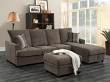 Brown Wood Sectional Sofa