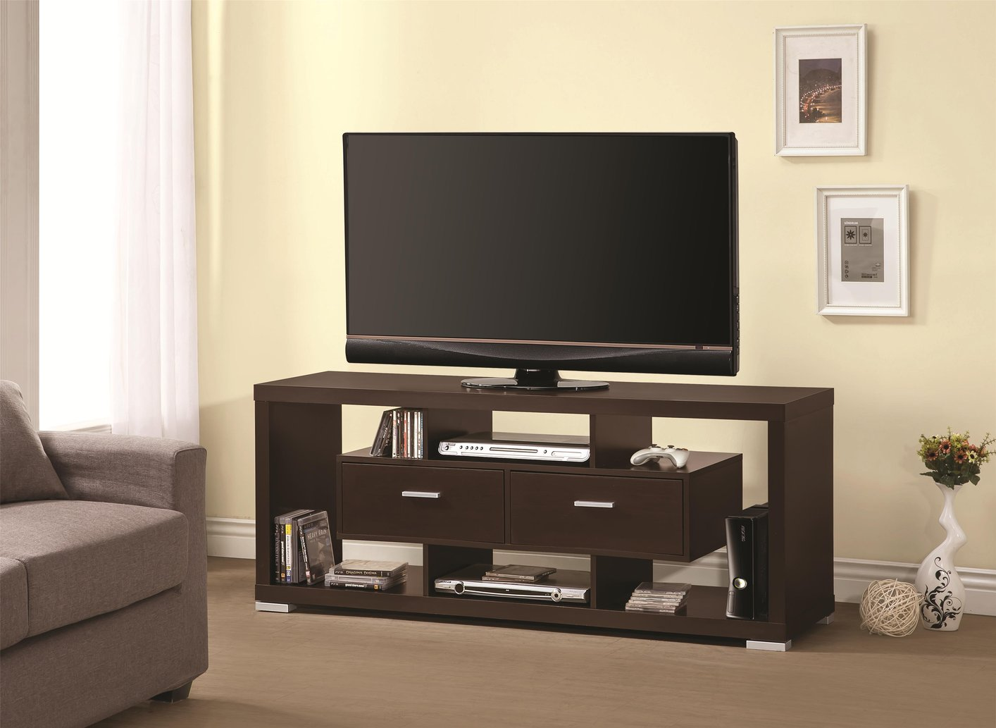 Brown Wood Tv Stand Steal A Sofa Furniture Outlet Los