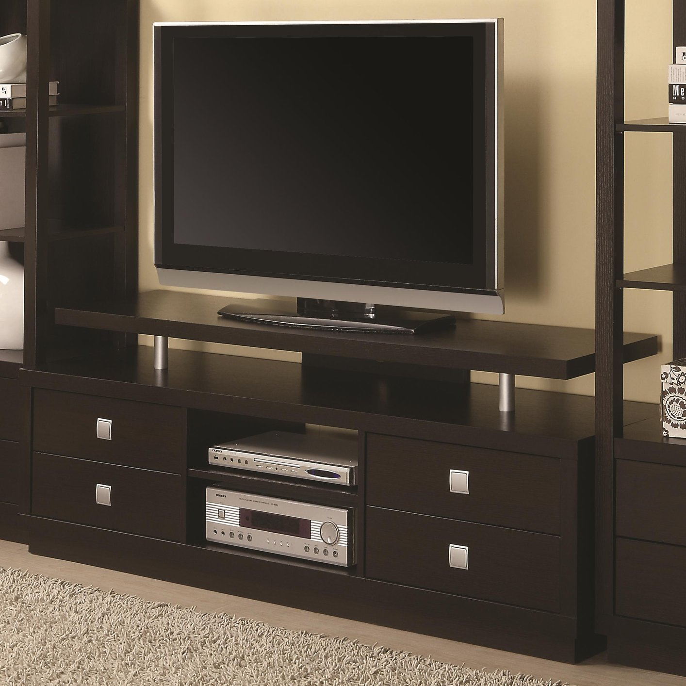 Brown Wood TV Stand - Steal-A-Sofa Furniture Outlet Los Angeles CA
