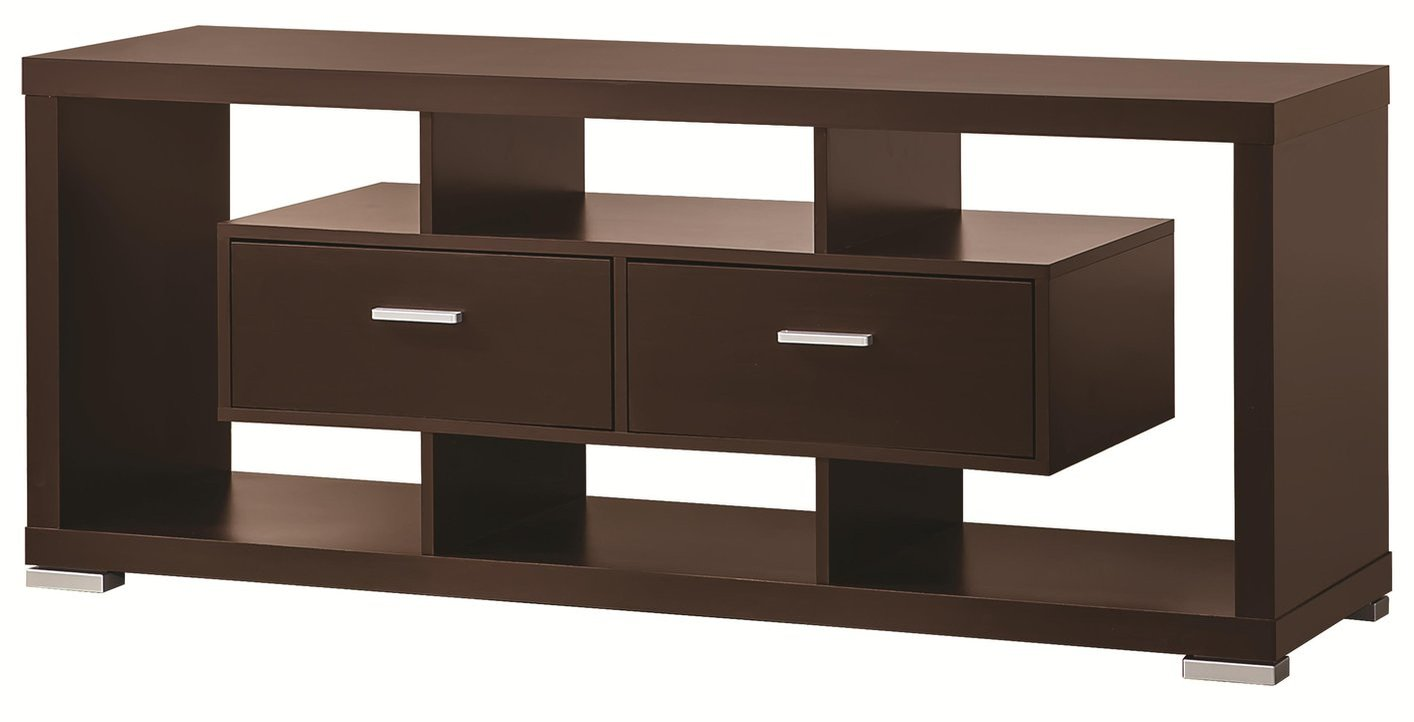 coaster 700112 brown wood tv stand steal a sofa furniture outlet los angeles ca. Black Bedroom Furniture Sets. Home Design Ideas