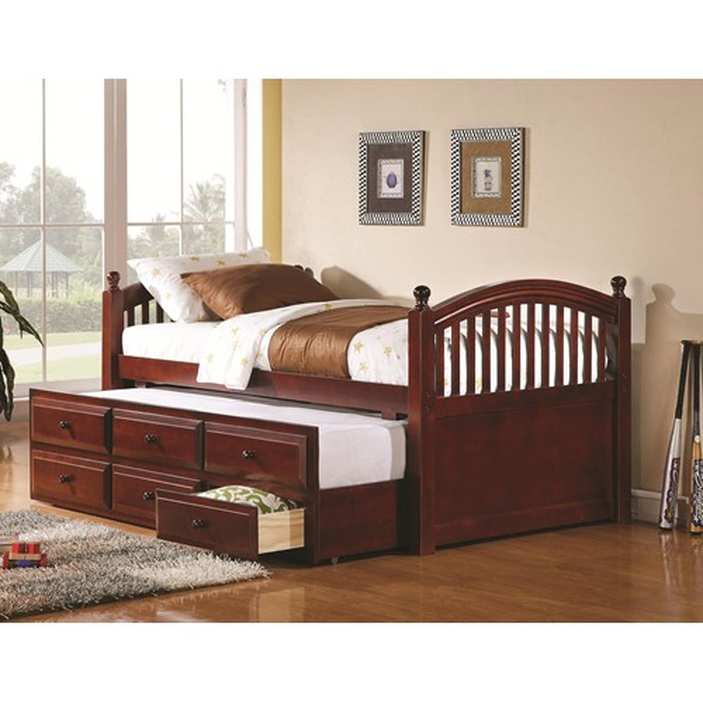 Brown Wood Twin Size Day Bed Steal A Sofa Furniture