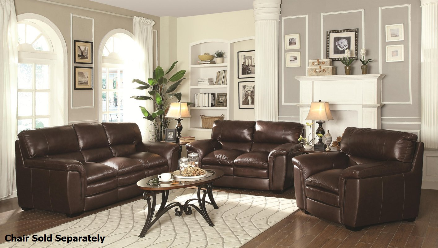 Burton Brown Leather Sofa And Loveseat Set