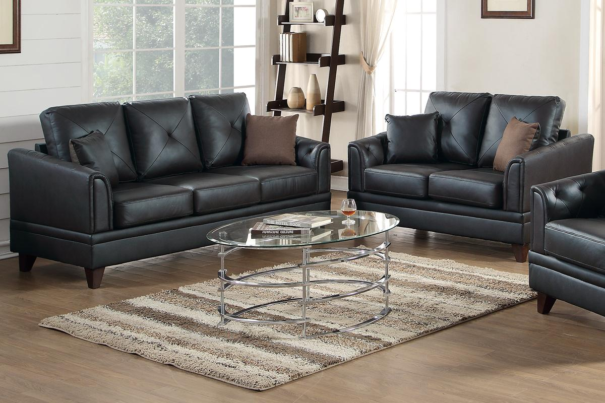 Black Leather Sofa and Loveseat Set - Steal-A-Sofa Furniture Outlet ...