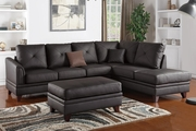 Calantha Brown Leather Sectional Sofa