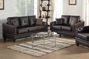 Calantha Brown Leather Sofa and Loveseat Set