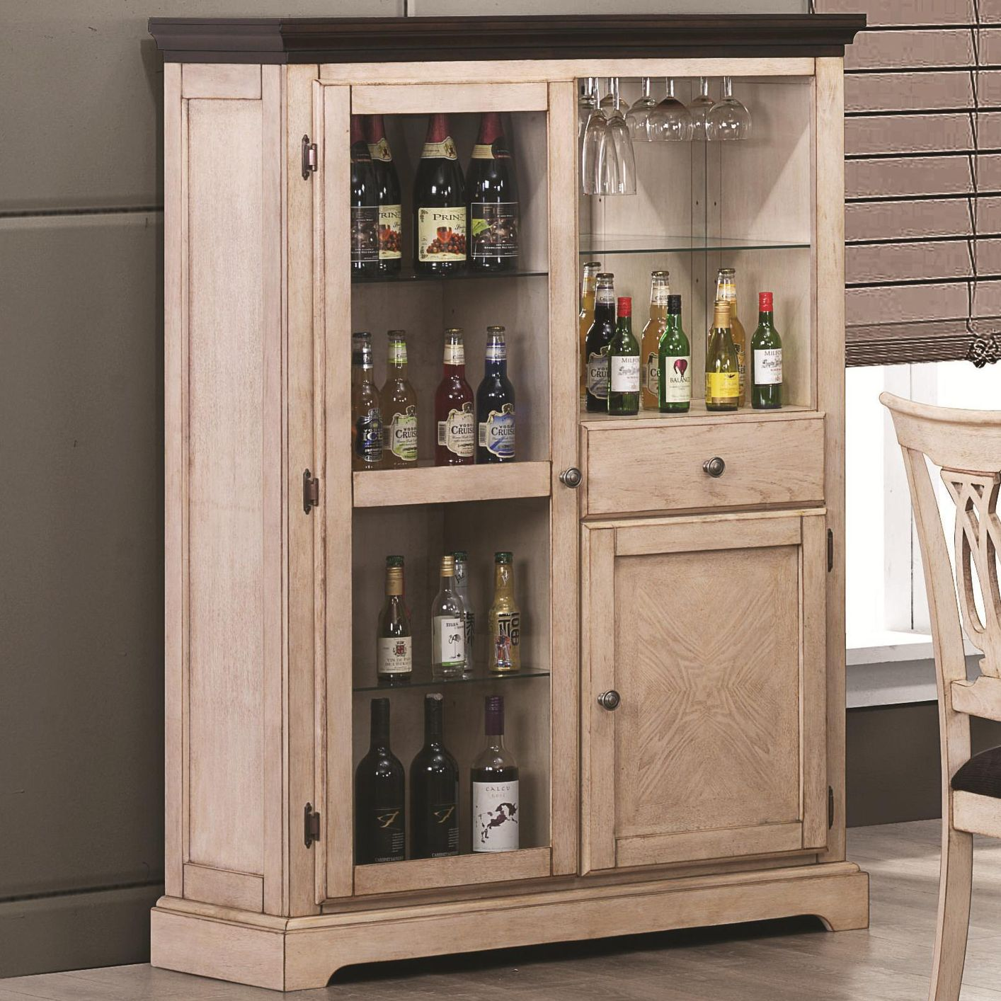 Camille antique white wood curio steal a sofa furniture for Kitchen cabinets 90045