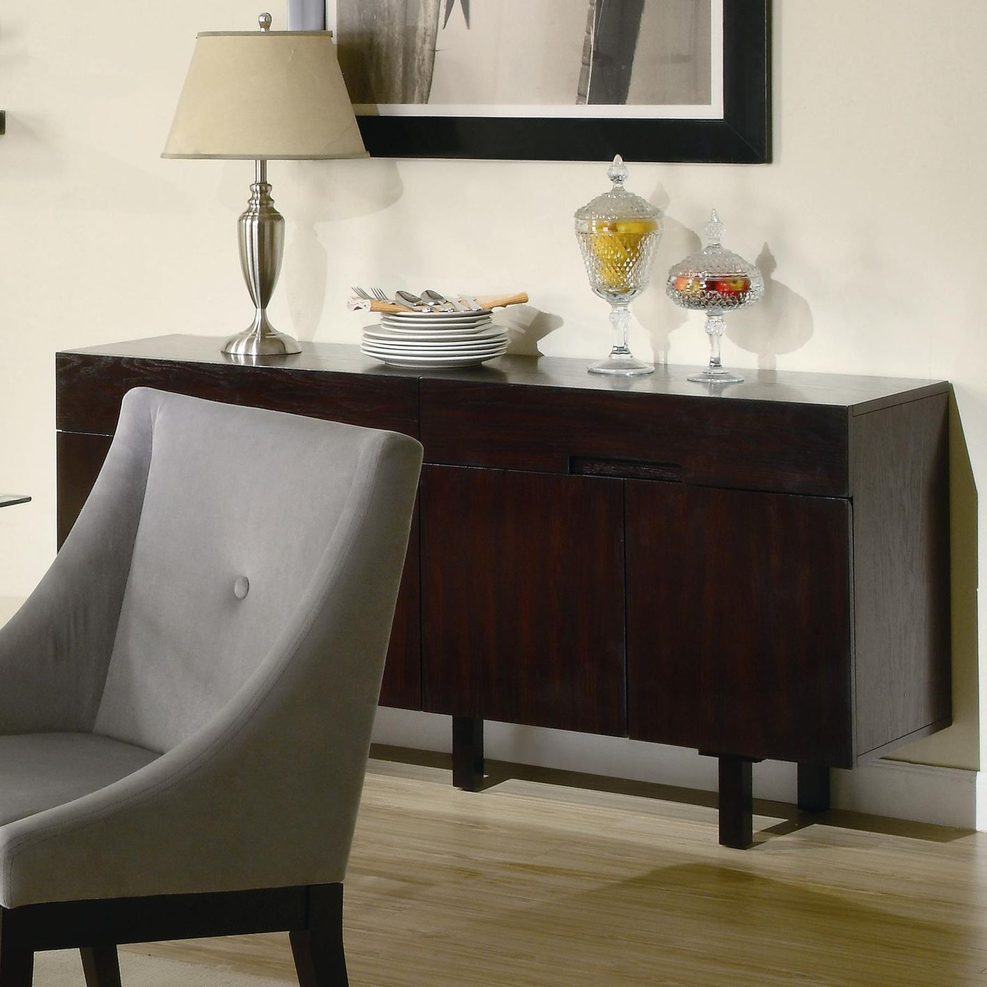 Candice cappuccino wood buffet table steal a sofa