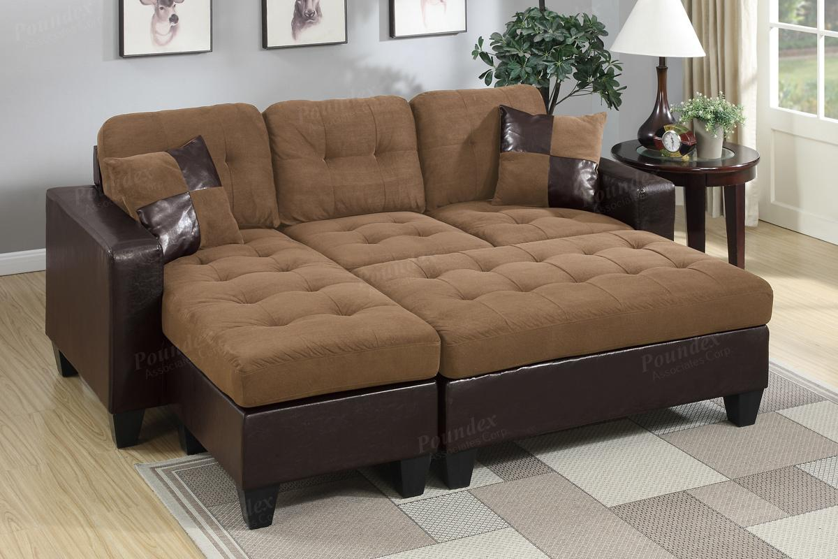 Poundex Cantor F6929 Brown Leather Sectional Sofa And Ottoman Steal A Sofa Furniture Outlet