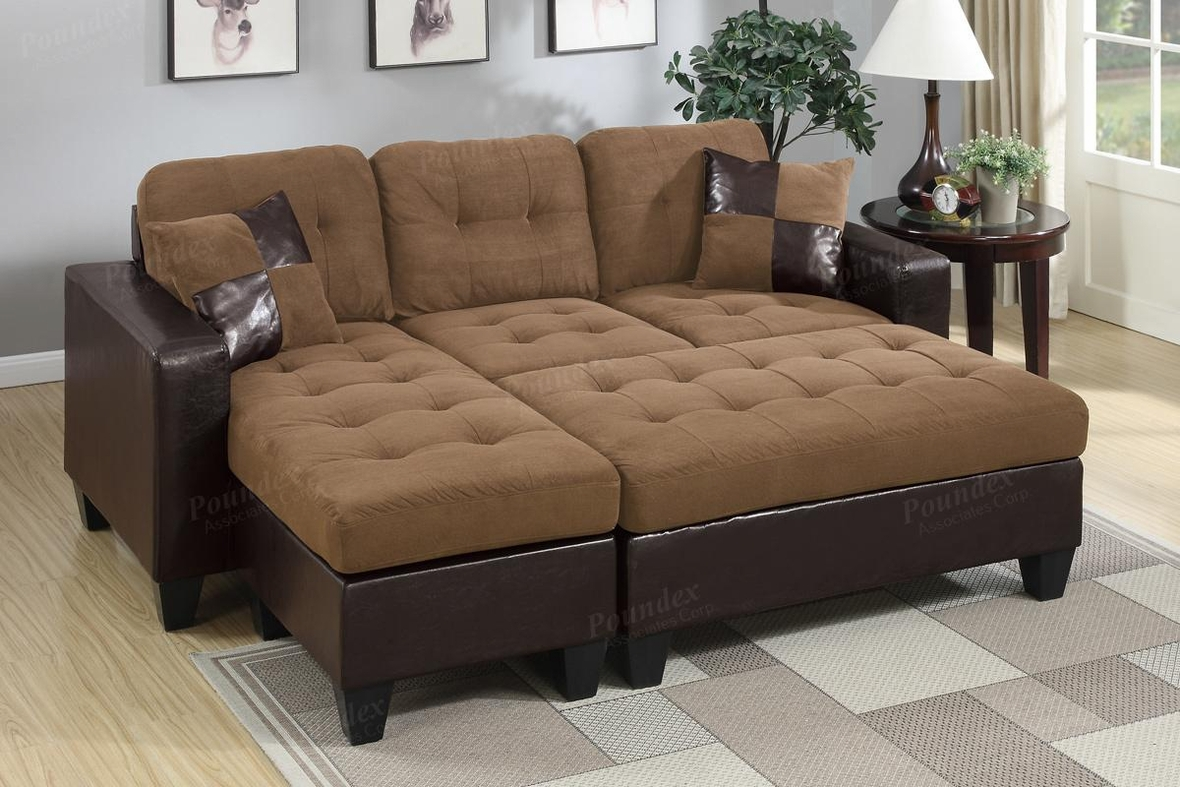 Cantor Brown Leather Sectional Sofa and Ottoman - Poundex Cantor F6929 Brown Leather Sectional Sofa And Ottoman