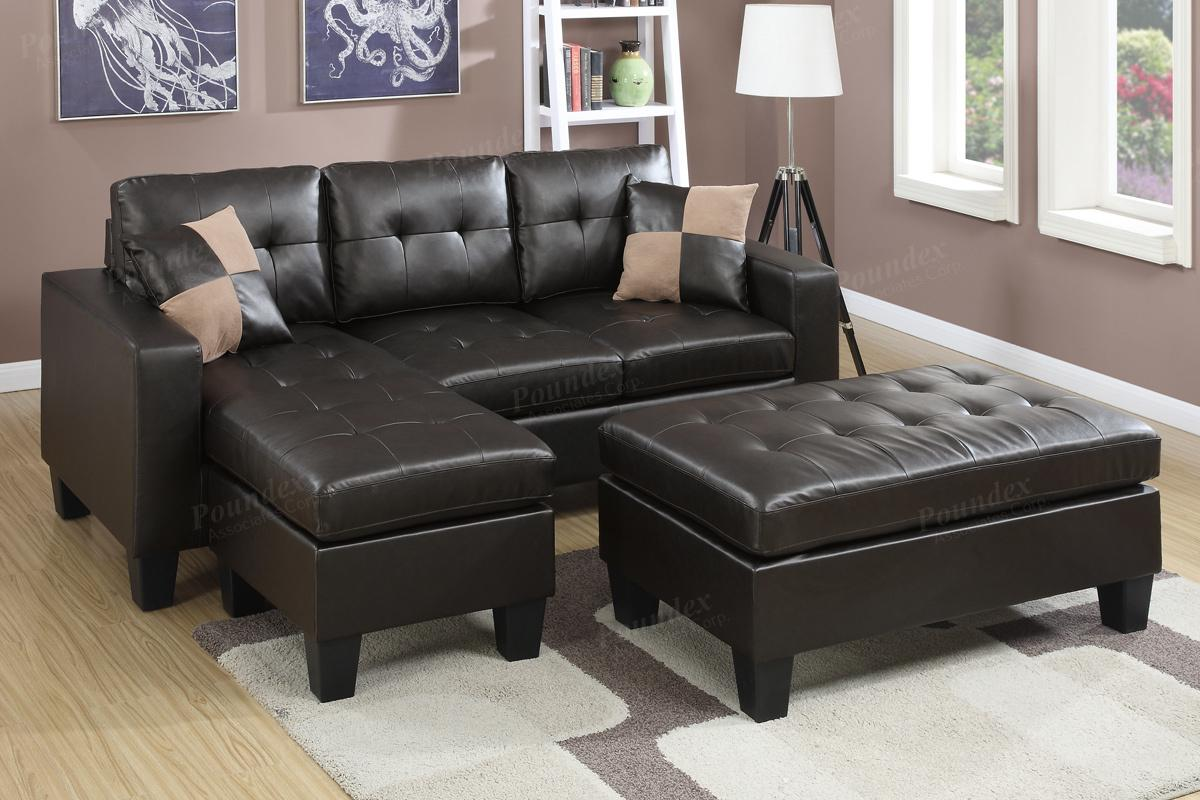 Cantor Brown Leather Sectional Sofa and Ottoman : brown leather sectional sofa - Sectionals, Sofas & Couches