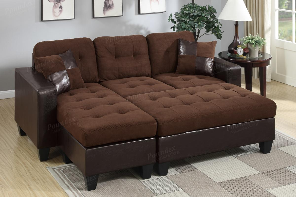 Cantor brown leather sectional sofa and ottoman