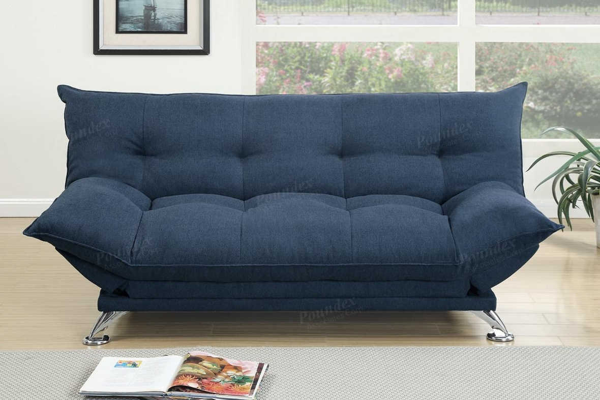 Overstuffed sofa - Cap Blue Fabric Sofa Bed