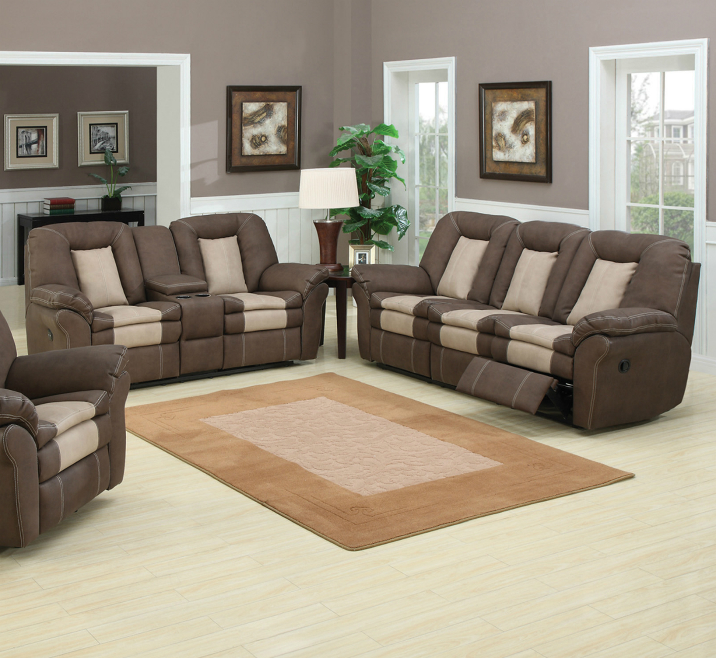 Ac Pacific Carson 117 Brown Leather Sofa And Loveseat Set In Los ...