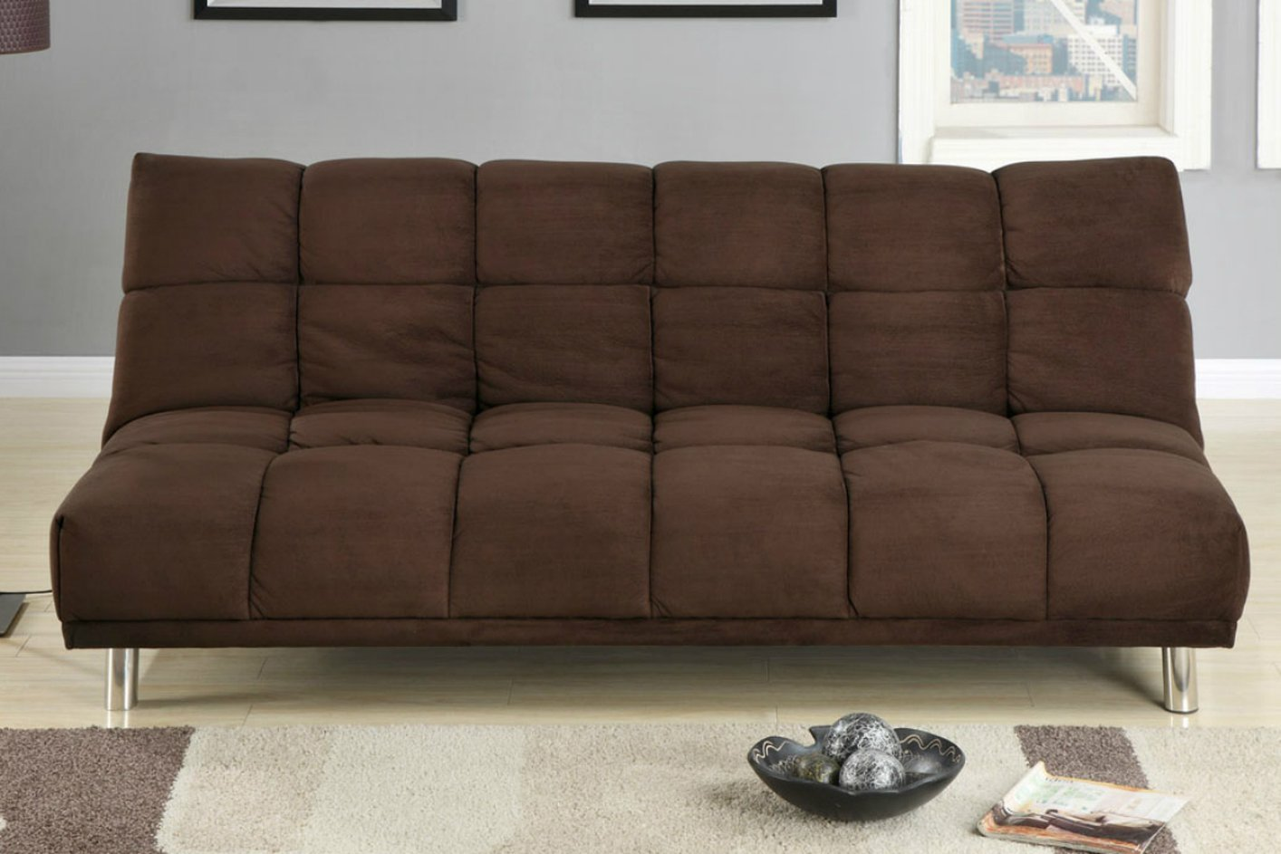 Steal A Sofa Furniture Outlet: Brown Fabric Twin Size Sofa Bed