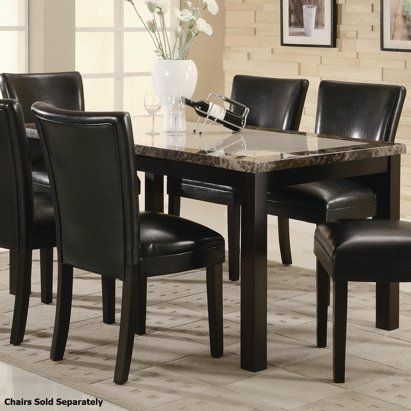 Black dining table and chairs - Brown Marble Dining Table And Chair Set
