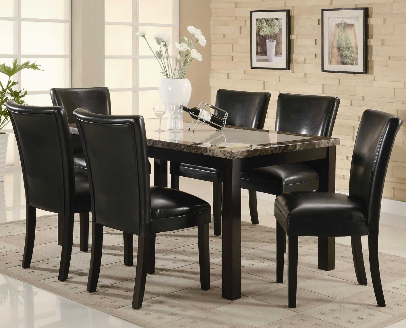 Coaster carter 102260 102262 brown wood and marble dining for Black dining room table set