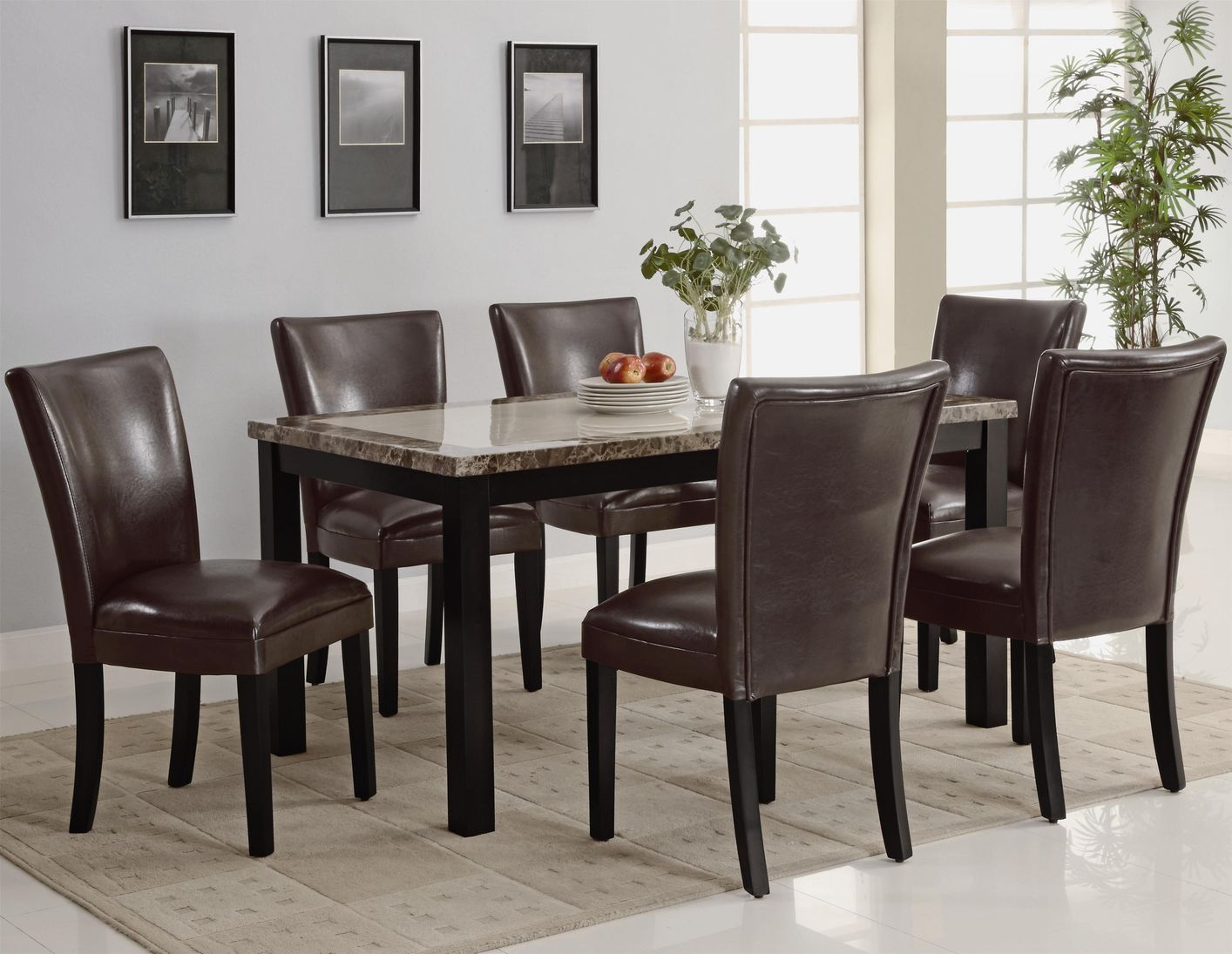 Coaster carter 102260 102263 brown wood and marble dining for Dark wood dining table