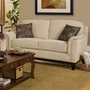 Beige Fabric Loveseat