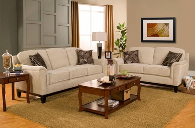 Carver Beige Fabric Sofa and Loveseat Set